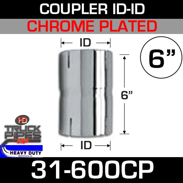 """6"""" Exhaust Connector ID-ID Chrome Plated 6"""" Tall 31-600CP"""