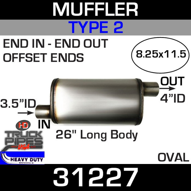 """Type 2 Muffler 8.25"""" x 11.5"""" Oval - 26"""" x 3.5"""" IN-4"""" OUT 31227"""