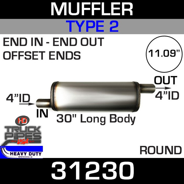 """Type 2 Muffler 11.09"""" Round - 30"""" x 4"""" IN-OUT 31230"""