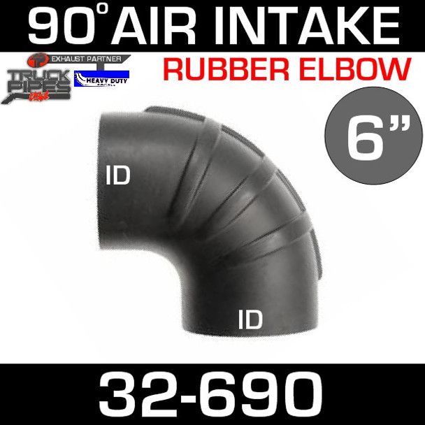"6"" x 90 Degree Rubber Air-Intake Elbow 