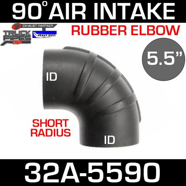 "5.5"" x 90 Degree Short Radius Rubber Air-Intake Elbow 32A-5590"