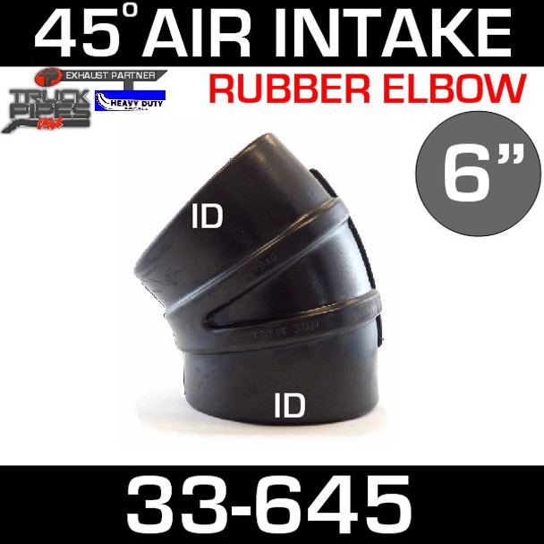 "6"" x 45 Degree Rubber Air-Intake Elbow 