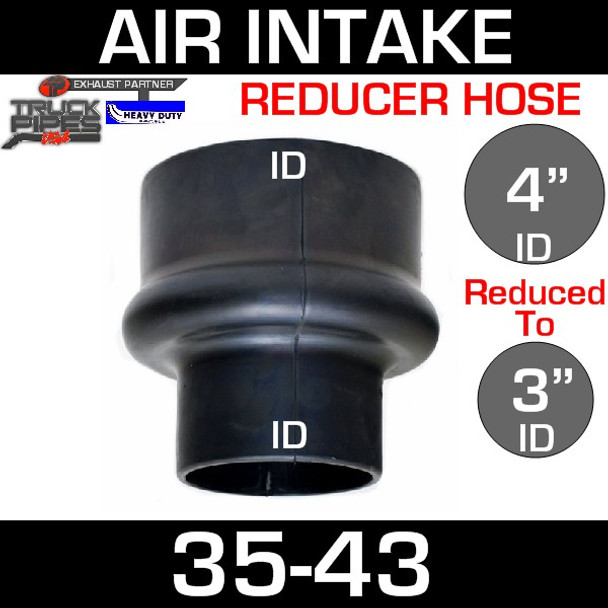 """4"""" to 3"""" Rubber Reducer Hose Air-Intake Exhaust 35-43"""