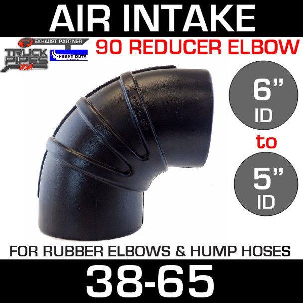 """6"""" to 5"""" Rubber Reducing 90 Degree Elbow"""