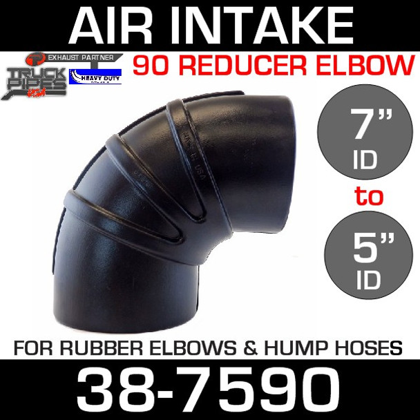 """7"""" to 5"""" Rubber Reducing 90 Degree Elbow 38-7590"""