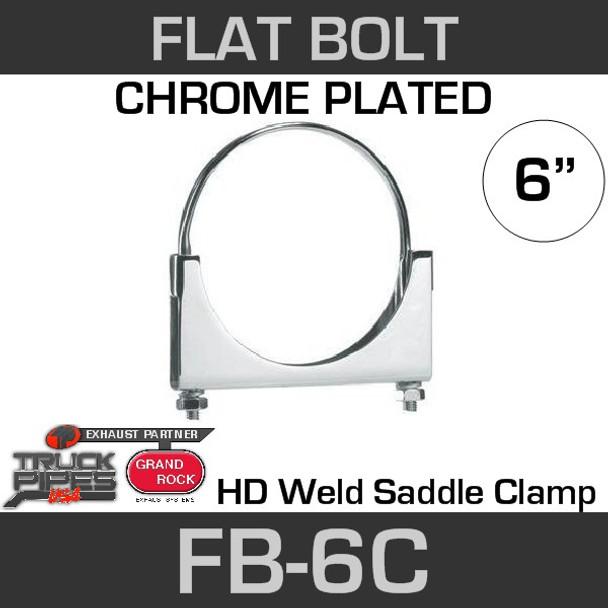 "6"" Chrome Plated Flat Bolt Exhaust Clamp FB-6C"