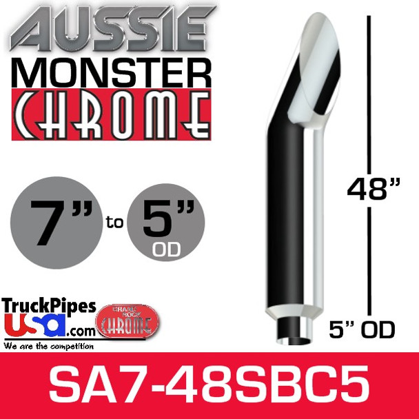 """7"""" x 48"""" Aussie Chrome Monster Stack Reduced to 5"""" OD AA705148PL"""
