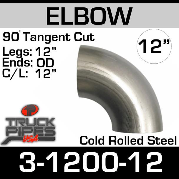 """12"""" 90 Degree Exhaust Elbow 12"""" CLR, 12"""" Leg 3-1290-12"""