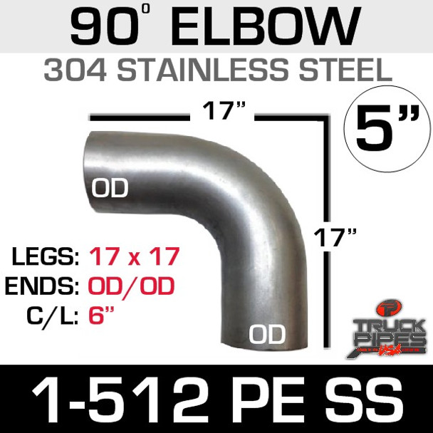 """5"""" 90 Degree Elbow 17"""" x 17"""" OD-OD 304 Stainless Steel 1-512PE SS"""