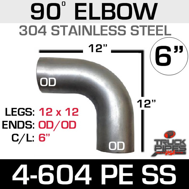 """6"""" 90 Degree Elbow 12.5"""" x 12.5"""" OD-OD 304 Stainless Steel 4-604PE SS"""