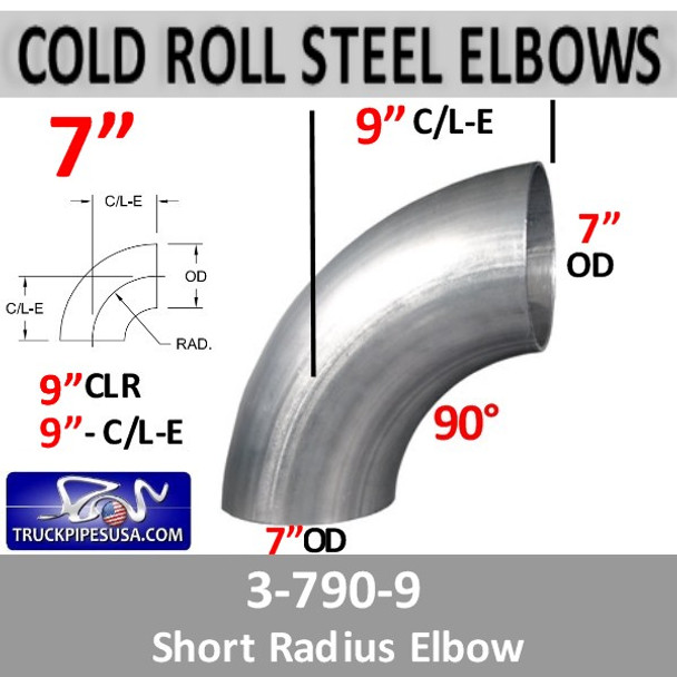 "7"" Exhaust 90 Degree Elbow 9"" Centerline Legs OD-OD STEEL 3-790-9"