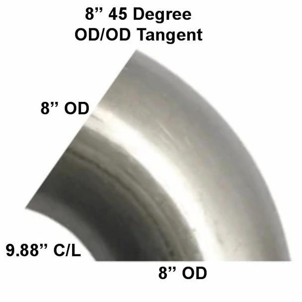 """8"""" x 45 Degree Tangent Cut Exhaust Elbow 9.88"""" CLR 3-845-10"""