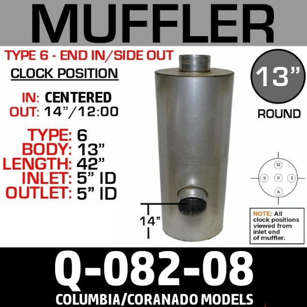 """04-22804-000 Freightliner Muffler 13"""" x 43""""- 5"""" ID End IN/Side OUT"""