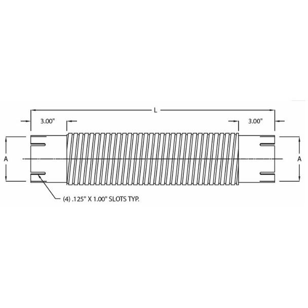 "3"" x 18"" Flex Exhaust Hose Repair Section Galvanized Steel ID-ID"