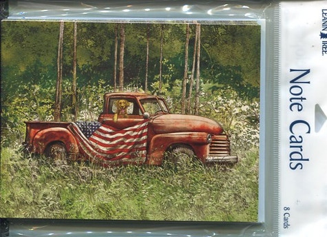 Notecards with flag draped old truck