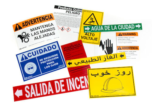 Pre-made Foreign Language Labels from Creative Safety Supply