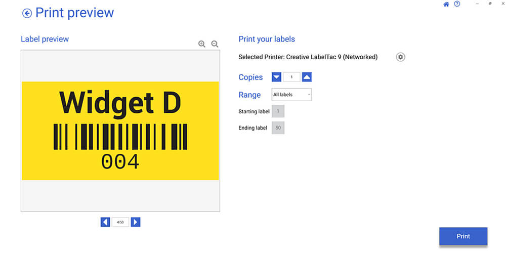 Barcode labels print preview database