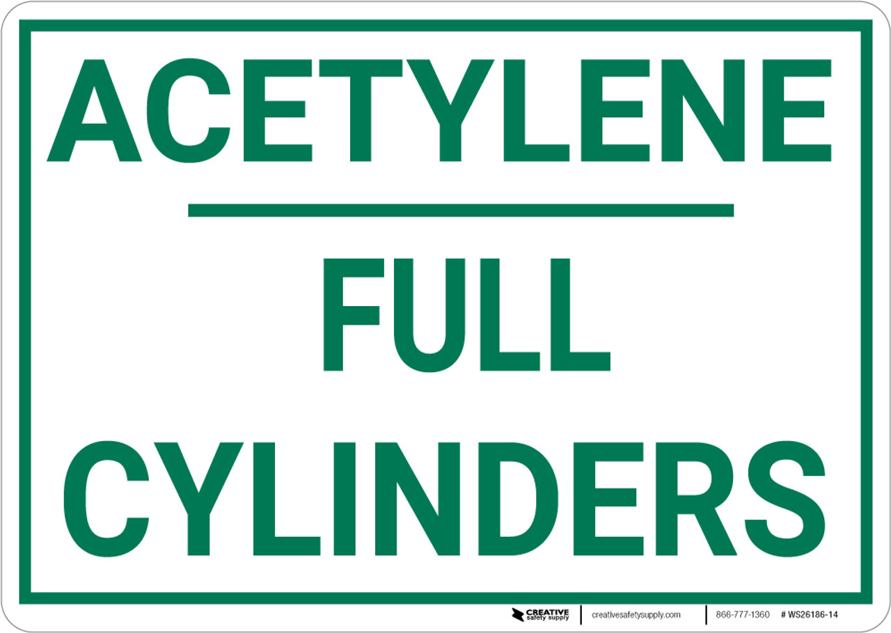 Acetylene Full Cylinders Landscape - Wall Sign
