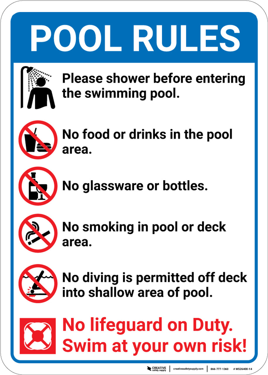 Pool Rules Please Shower Before Entering with Icons Portrait - Wall Sign