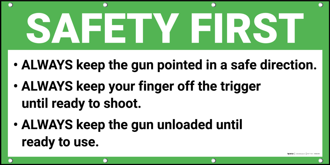 image about Printable Gun Safety Rules referred to as Security Very first Gun Wide variety Laws and Security Banner