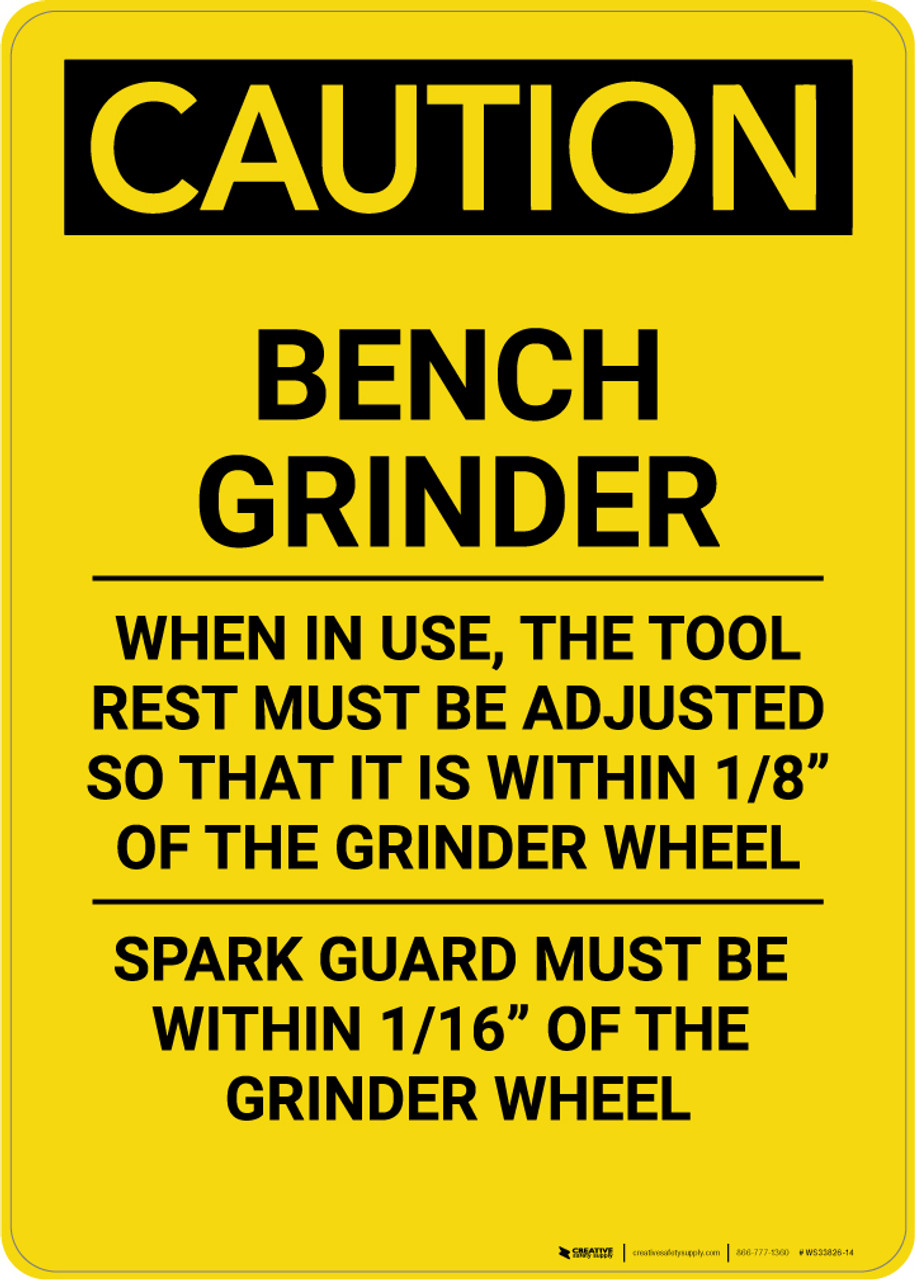 Excellent Caution Bench Grinder Portrait Wall Sign Creativecarmelina Interior Chair Design Creativecarmelinacom
