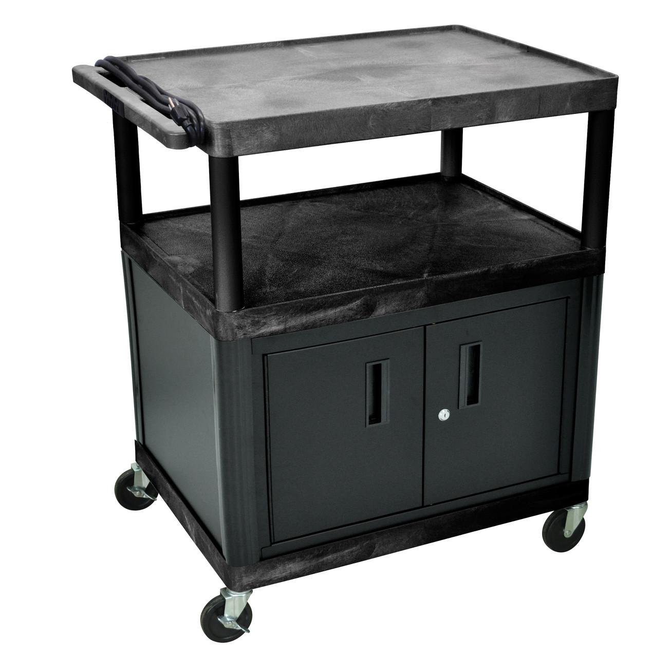 Luxor Endura Black 3 Shelf Presentation Cart W Cabinet 40 1 4 H Creative Safety Supply