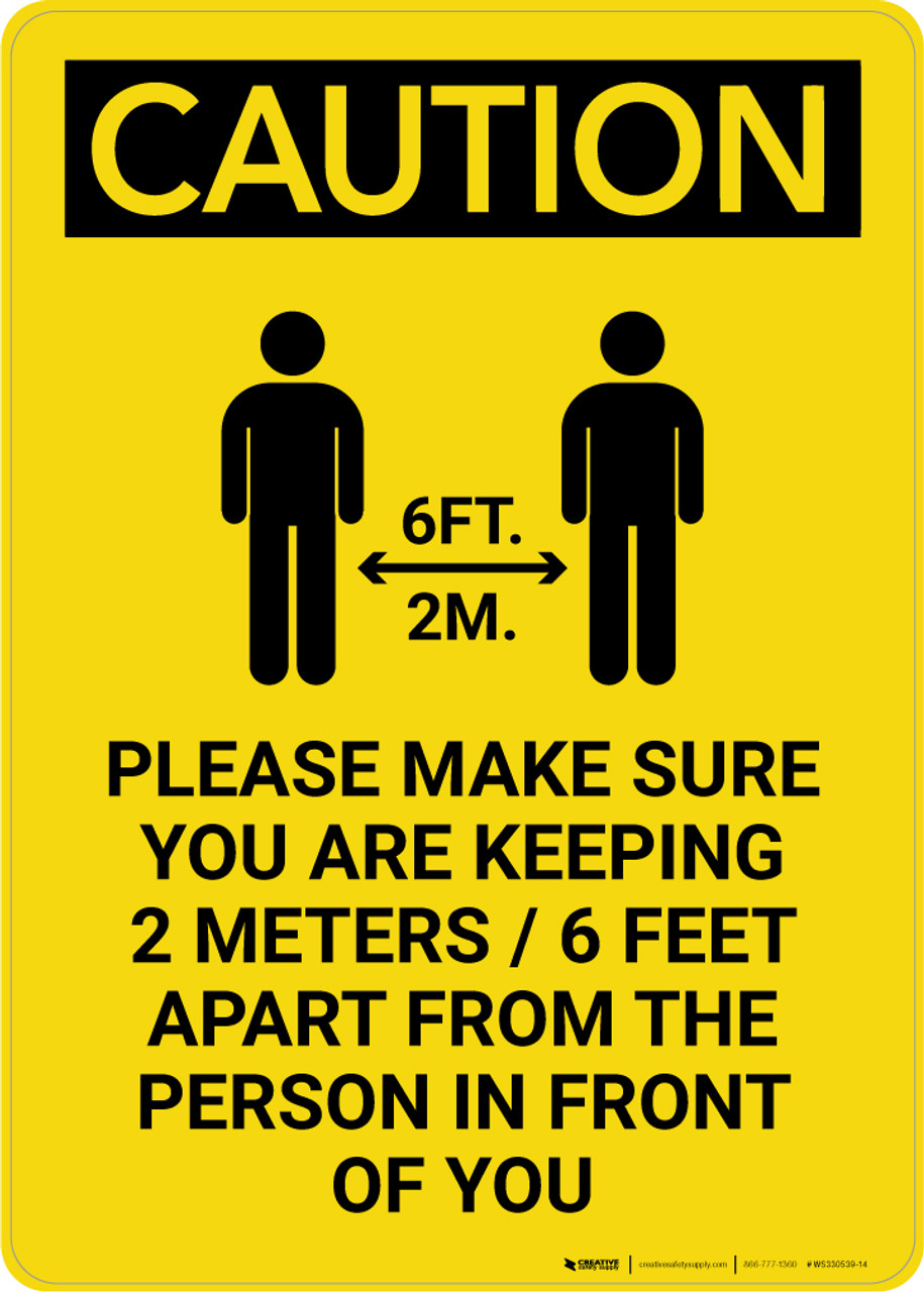 6 Feet 6 caution: make sure you are keeping 6 feet apart with icon portrait - wall  sign
