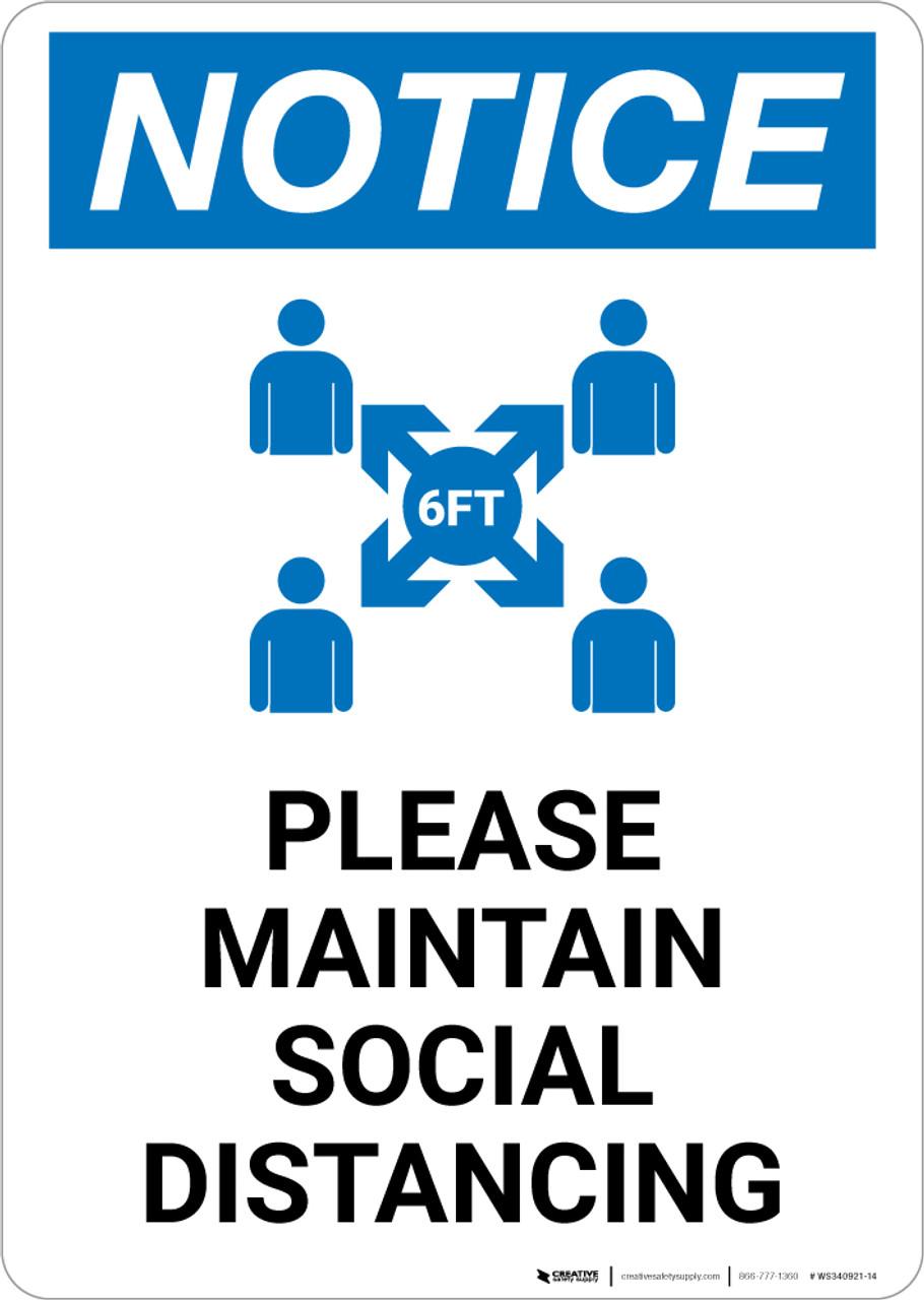 Laminated card A6 sign KEEP 1m APART SOCIAL DISTANCE office shop pub salon
