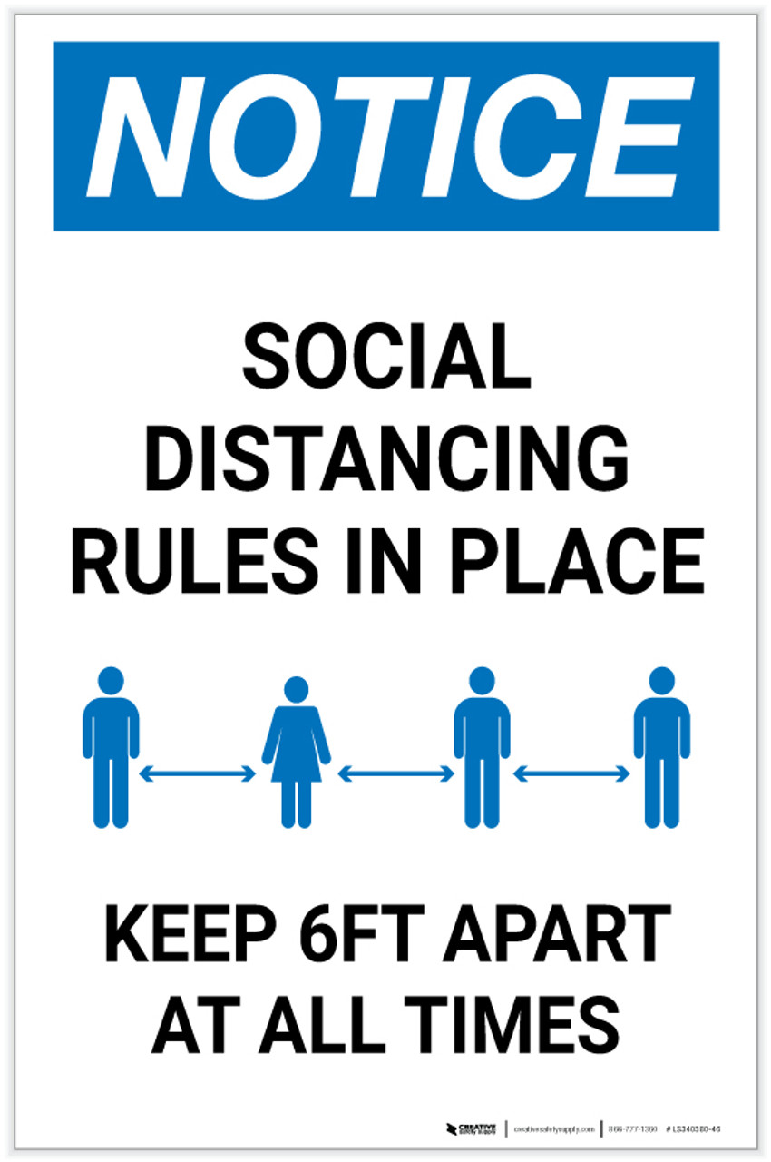 NOTICE MAINTAIN 6FT SOCIAL DISTANCE WARNING DECAL SAFETY SIGN C-19