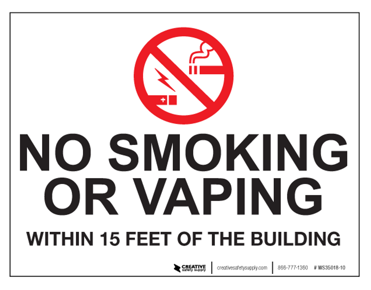 photo relating to No Smoking Sign Printable named No Smoking cigarettes/Vaping Inside 15 Ft - Wall Indicator