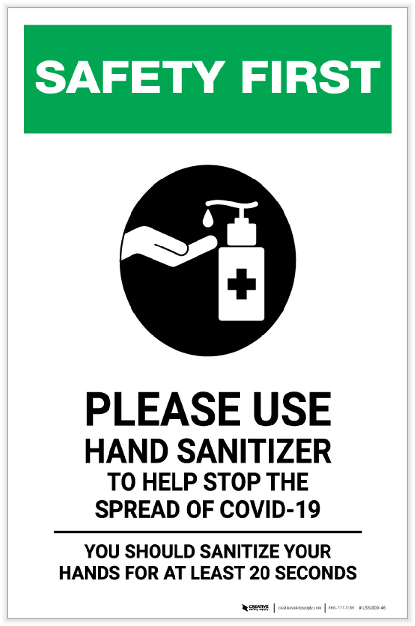 SIZES SIGN /& STICKER OPTIONS SANITISE HANDS TO PREVENT THE SPREAD OF GERMS