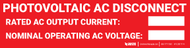 Photovoltaic AC Disconnect - Label