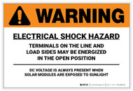 Warning: Electrical Shock Hazard - Solar Panel Label