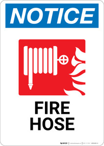 Notice: Fire Hose and Fire with Icon - Wall Sign