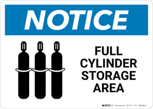 Notice: Full Cylinder Storage Area with Icon Landscape - Wall Sign