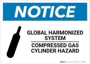 Notice: Global Harmonized System Compressed Gas Cylinder Hazard - Wall Sign