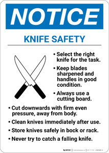 Notice: Knife Safety - Wall Sign