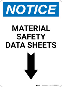 Notice: Material Safety Data Sheets Arrow Down Portrait - Wall Sign