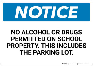 Notice:No Alcohol Or Drugs Permitted On School Property This Includes The Parking Lot - Wall Sign