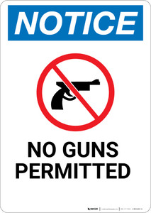 Notice: No Guns Permitted with Icon - Wall Sign