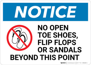 Notice: No Open Toe Shoes Flip Flops or Sandals Beyond This Point with Icon - Wall Sign