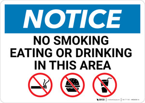 Notice: No Smoking Eating Or Drinking In This Area with Icons - Wall Sign