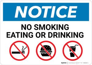 Notice: No Smoking Eating Or Drinking with Icons - Wall Sign