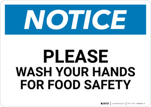 Notice: Please Wash Your Hands For Food Safety - Wall Sign