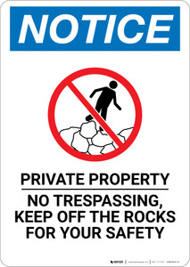Notice: Private Property No Trespassing Portrait with Icon - Wall Sign