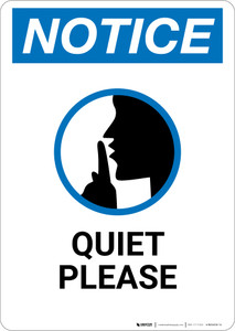 Notice: Quiet Please With Finger On Lips Graphic - Wall Sign