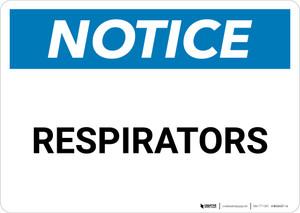 Notice: Respirators - Wall Sign