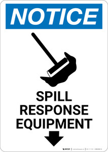 Notice: Spill Response Equipment with Graphic - Wall Sign