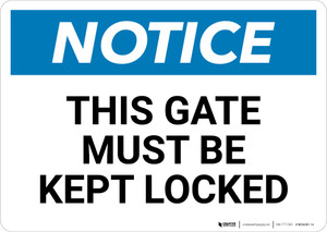 Notice: This Gate Must Be Kept Locked - Wall Sign