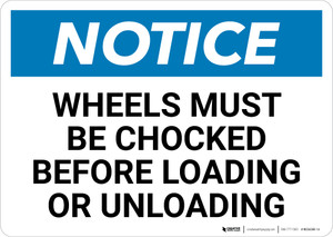 Notice: Wheels Must Be Chocked Before Loading Or Unloading - Wall Sign